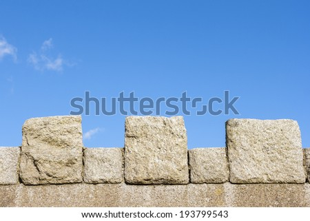 Medieval wall with sky background