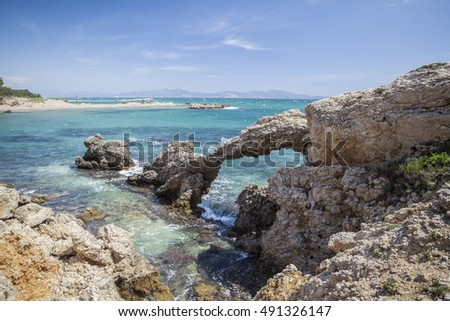 Mediterranean sea view, seascape, rock formations in L Escala, Costa Brava, Catalonia, Spain.