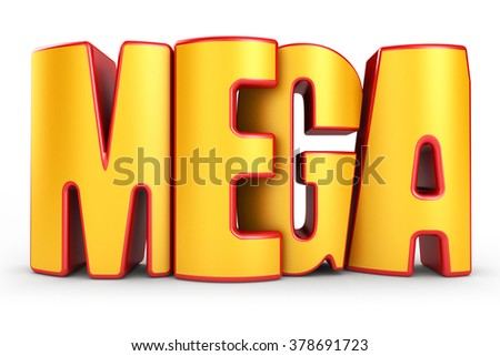 Mega 3d text isolated over white background