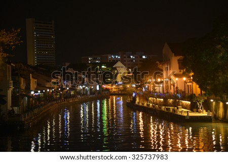 Melaka, Malaysia - September 21 2015: Melaka River Is Very Beautiful In The Night