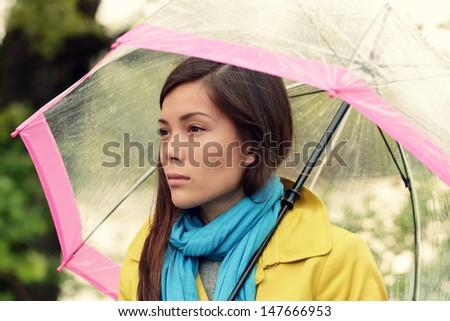 Cheerful Woman Under Pink Umbrella Checking Stock Photo ...