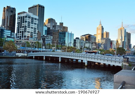 MELBOURNE - APR 14, 2014:The Yarra River.It was a major food source and meeting place for indigenous Australians from prehistoric times today it's one of the cleanest capital city rivers in the world.