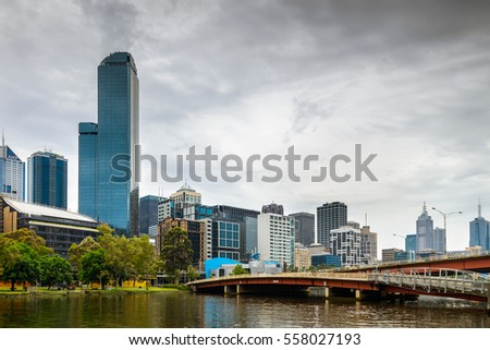 Melbourne, Australia - December 27, 2016: Melbourne City Business District view and the Yarra River viewed from the Kings Bridge