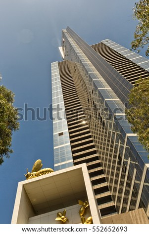 Melbourne, Australia - February 2015: Eureka Tower is a 297.3 meter skyscraper located in Southbank and designed by Fender Katsalidis Architects. One of the tallest residential building in the world.