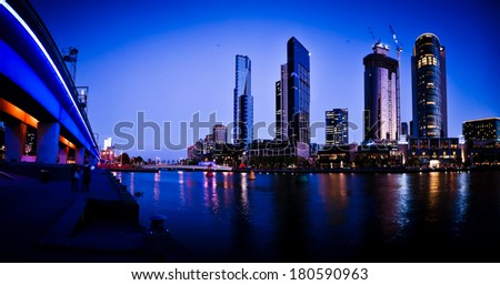 MELBOURNE AUSTRALIA - February 28 2014: Melbourne's Yarra River and city skyline - Melbourne was rated most livable city for the third consecutive year in Economist Intelligence Unit Survey 2013