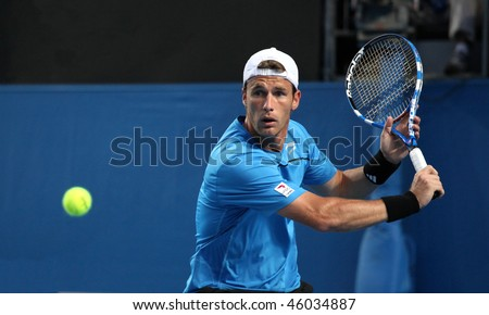 MELBOURNE, AUSTRALIA - JANUARY 19: Daniel Gimeno-Traver of Spain first round loss to Novak Djokovik in the 2010 Australian Open on January 19, 2010 in Melbourne, Australia