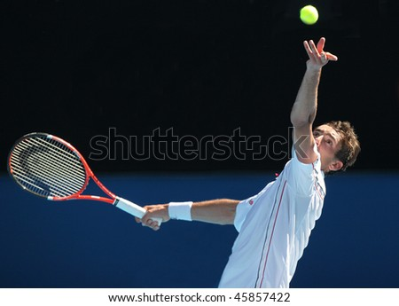 MELBOURNE, AUSTRALIA - JANUARY 26: Marin Cilic of Croatia in his quarter final win over Andy Roddick during the 2010 Australian Open on January 26, 2010 in Melbourne, Australia