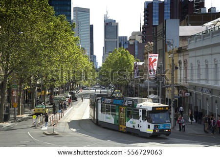MELBOURNE, AUSTRALIA - OCTOBER 15, 2016:  The Melbourne tramway network is a major form of public transport in Melbourne.   It is the largest urban tramway network in the world