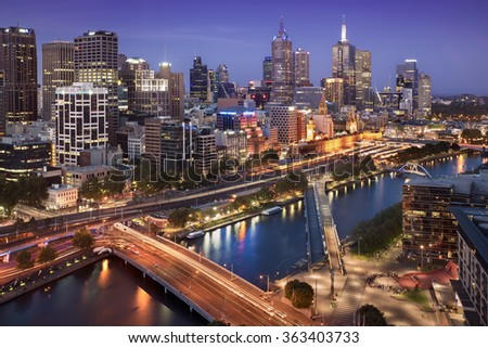 Melbourne city skyline at twilight.