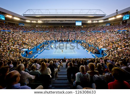 MELBOURNE - JANUARY 27: Crowd at Rod Laver Arena during the 2013 Australian Open Mens Championship Final on January 27, 2013 in Melbourne, Australia.