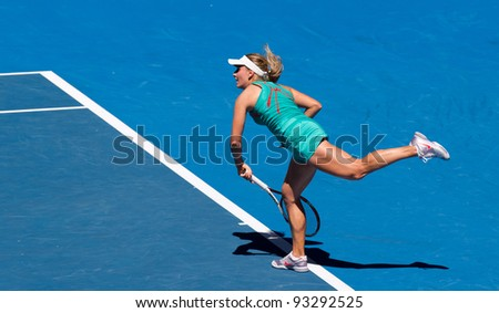 MELBOURNE - JANUARY 16: Kaenia Pervak in her first round loss to Li Na of China at the 2012 Australian Open on January 16, 2012 in Melbourne, Australia.