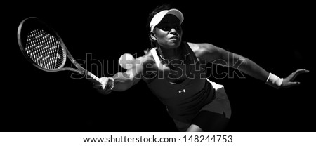 MELBOURNE - JANUARY 23: Sloane Stephens of USA in her quarter final win over Serena Williams of USA at the 2013 Australian Open on January 23, 2013 in Melbourne, Australia