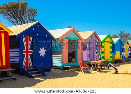 MELBOURNE - MARCH 17: Colourful Beach House on March 17, 2016 in Melbourne. Brighton is one of Melbourne's most exclusive suburbs, located south of the city.