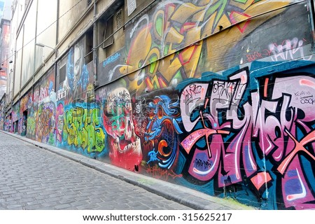 MELBOURNE - 20 OCTOBER 2015 : Street art by unidentified artist. Melbourne's graffiti management plan recognises the importance of street art in a vibrant urban culture.