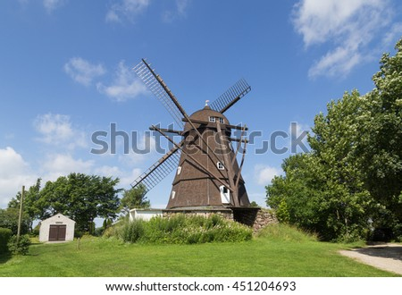 Melby, Denmark - July 11, 2016: Historic windmill in Dutch style in Northern Zealand region.