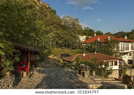 Melnik, Bulgaria - May 12, 2012: Landscape view to ancient Melnik town, Bulgaria. Visit of ancient Melnik town in early summer.