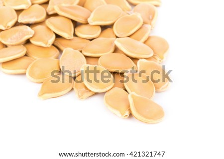 Melon seeds on white background.