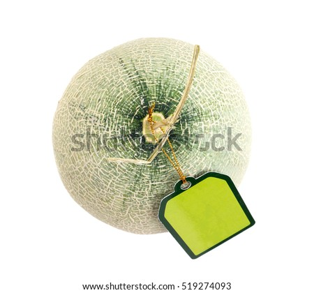 melon with green label tag on white background