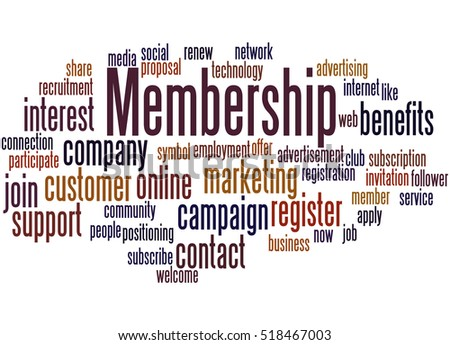 Membership, word cloud concept on white background.