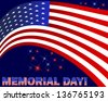 Memorial Day. American flag and beautiful text on a dark background with fireworks. Raster version. - stock photo