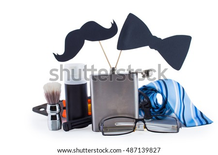 Men set for father's day. On white, isolated  background.