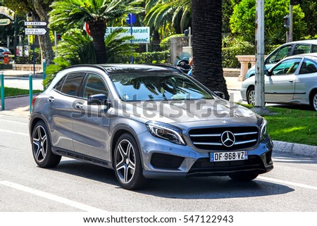 MENTON, FRANCE - AUGUST 2, 2014: Motor car Mercedes-Benz X156 GLA-class in the city street.