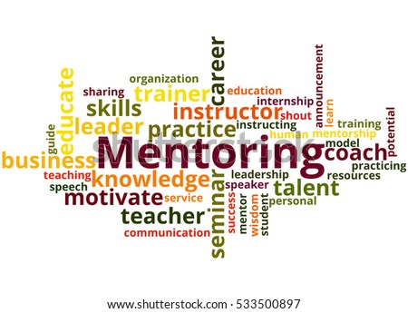 Mentoring, word cloud concept on white background.