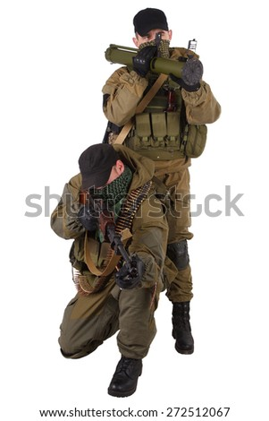 mercenaries with RPD machine gun and rocket launcher isolated on white background