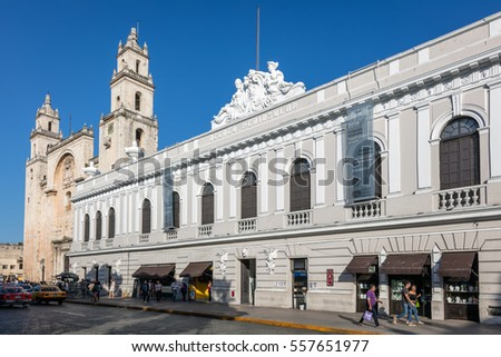 MERIDA, MEXICO - DECEMBER 30 2016: Museum Fernando Garcia Ponce Macay and the San Ildefonso Cathedral in Merida, Yucatan, Mexico.