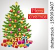 Merry christmas. Greeting card with decorated christmas tree. - stock vector