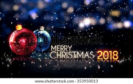 Merry Christmas 2016 Night Bokeh Beautiful Stock Illustration ...