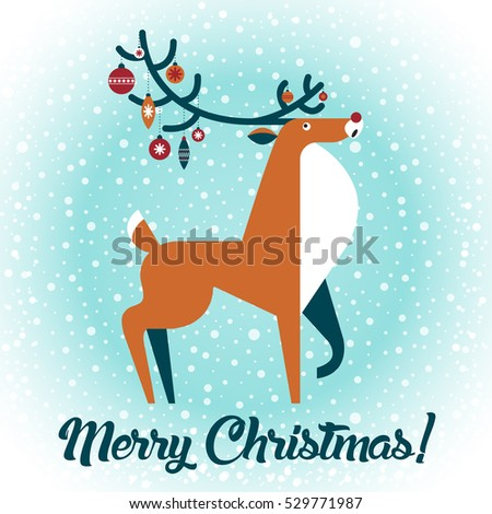 Merry Christmas Happy New Year Card Stock Vector 231499363 ...