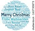 Merry christmas 2014 tree word tag cloud - stock vector