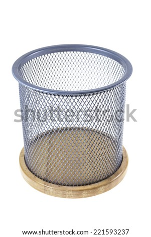 Mesh basket on a white background.
