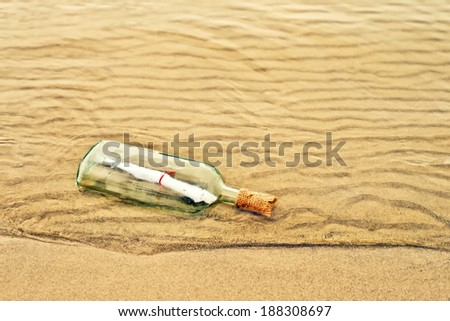 Message in a bottle, conceptual image