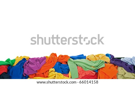 Messy colorful clothes border, isolated on white background, with space for text.