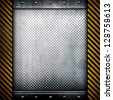 metal background with warning stripes frame - stock photo