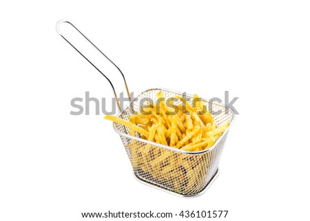 Metal basket of fries isolated on white background.
