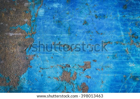 Metal blue grunge old rusty scratched surface texture