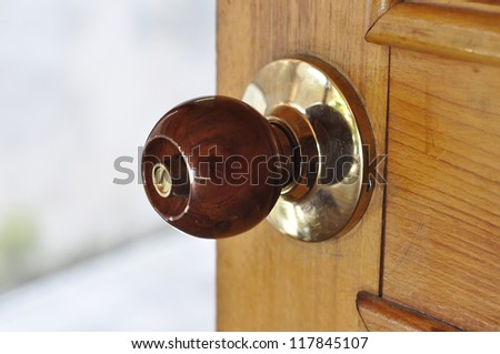 Metal Brass Door Knob Wood