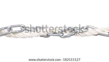 Metal chain and rope. Isolated on a white background.