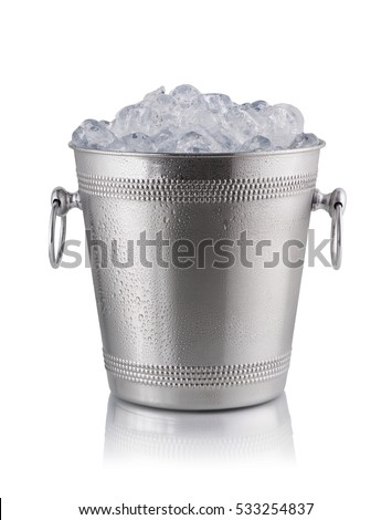 Metal champagne bucket, full with ice. Isolated on white