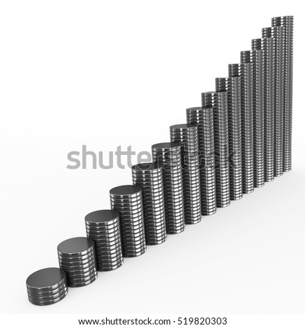 metal coins chart on white - 3d rendering