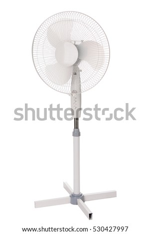 Metal electric fan, isolated on white background.
