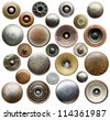Metal jeans buttons and rivets collection. - stock photo