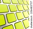 Metal keyboard close-up to empty copyspace green glossy keys - stock photo