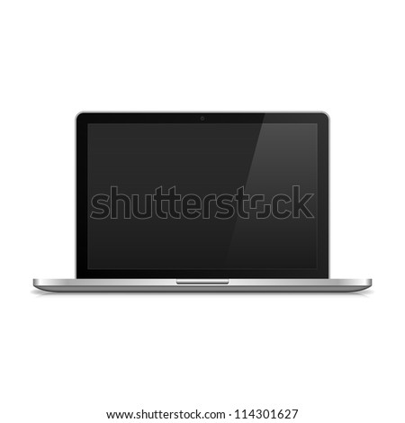 Metal Laptop Isolated on white. illustration