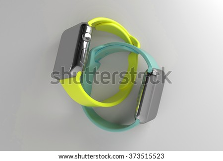 Metal looking smart watches 3d render with colored wristbands, watches are stick out the wall, watches are interlaced with each other