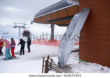 metal medical stretcher for rescue injured skiers in the mountains ski resort.
