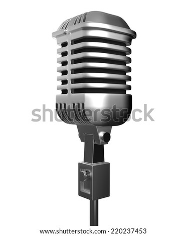 metal microphone isolate on white background with clipping path
